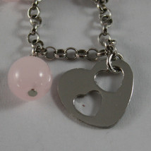 .925 RHODIUM SILVER BRACELET WITH PINK CRYSTALS AND HEART image 2