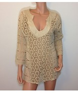 Beige Bohemian Blouse Embroidered Cotton Top Tunic SMALL - $29.00