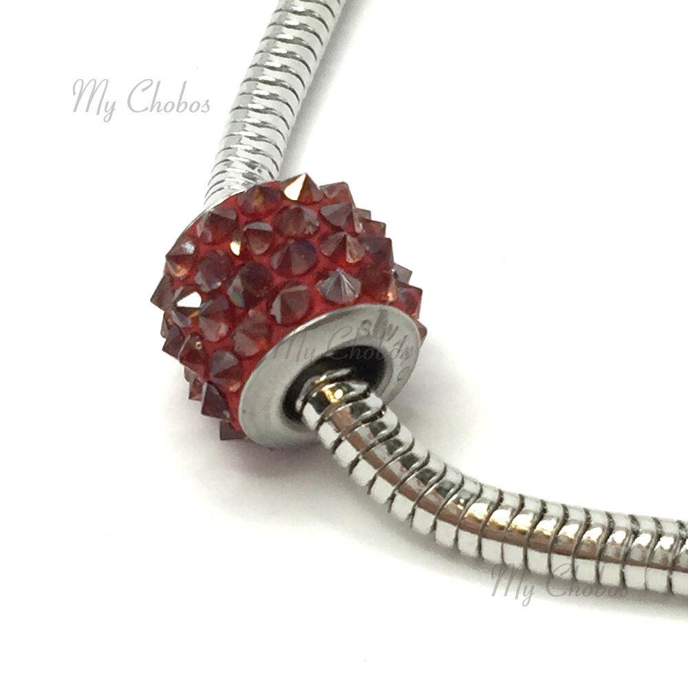 Swarovski European Fit Bracelet Charm Stainless BeCharmed Pave Spikes Crystal image 8