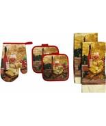 5 pc SET: 2 POT HOLDERS,1 OVEN MITT & 2 TOWELS, WINE & GRAPES, PICNIC FA... - $13.85