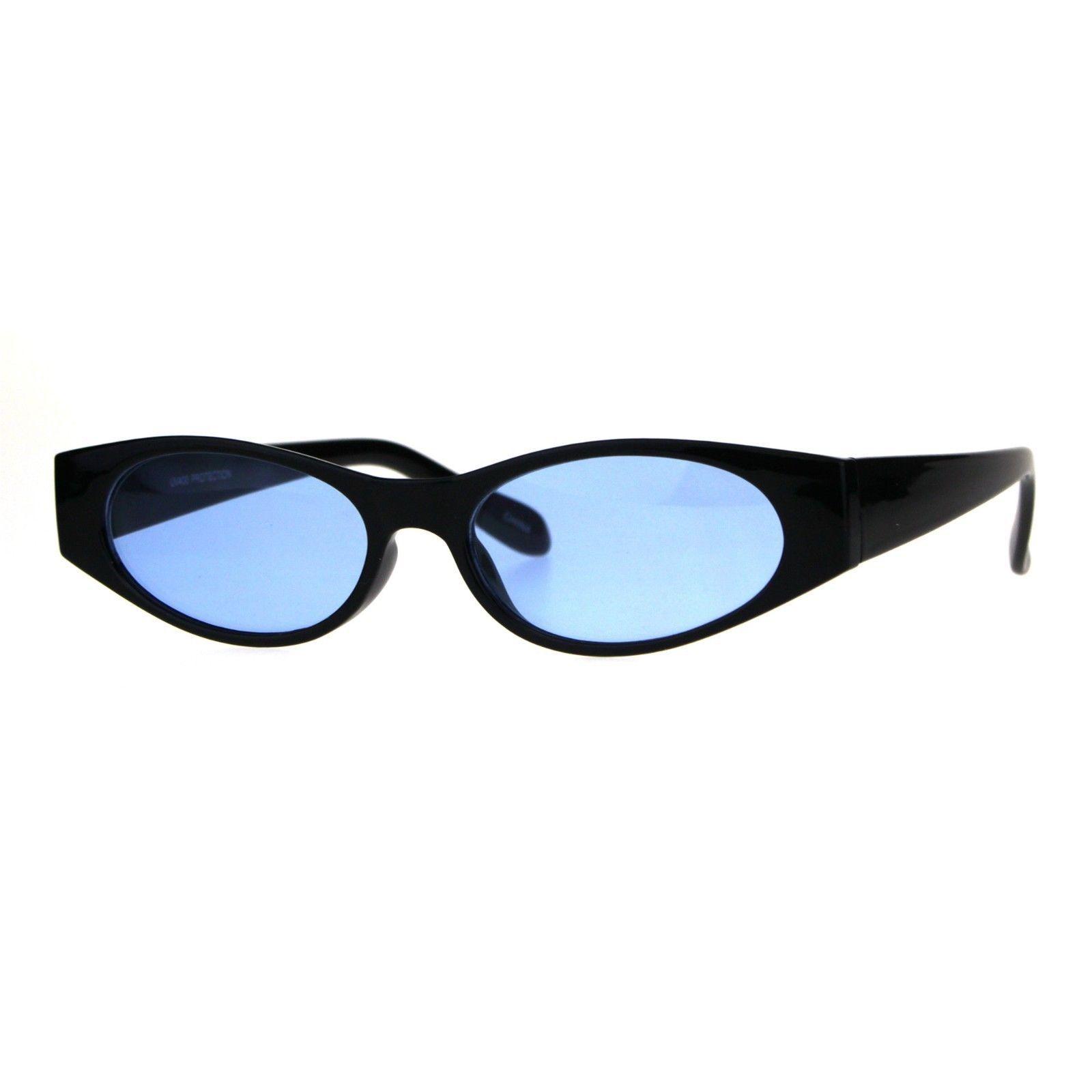 Womens Super Slim Sunglasses Black Oval Frame Modern Style Shades Color Lens
