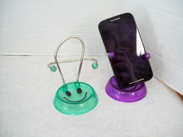 Set of Two Smiley Face Cell Phone Holders, Purple & Green - $7.91