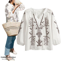 Mexican Embroidered Boho Top White Long Sleeve Blouse Plus Size 14 16 18... - $24.99