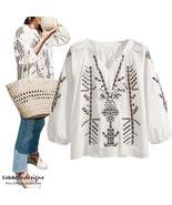 Mexican Embroidered Boho Top White Long Sleeve Blouse Plus Size 14 16 18... - $14.45