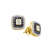14kt Yellow Gold Round Black Color Enhanced Diamond Square Stud Earrings  - $503.00