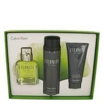 Calvin Klein Eternity 3.4 Oz EDT Spray + Aftershave Balm + Body Spray Gift Set image 1
