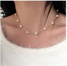 AIEDE Bridal 925 Silver Artificial Faux Pearls White Tin Cup Short Necklace - $31.31