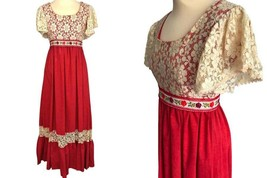 60s Couriers California Deep Coral Red Floral Cream Venetian Lace Prairi... - $75.00