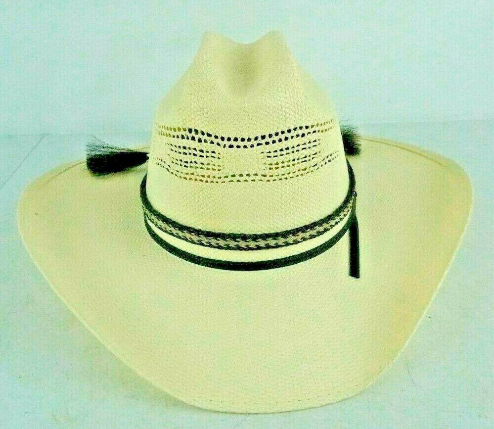 Primary image for Rodeo King White Straw Cowboy Hat Long Oval Size 7.5 7 1/2