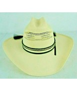 Rodeo King White Straw Cowboy Hat Long Oval Size 7.5 7 1/2  - $74.77