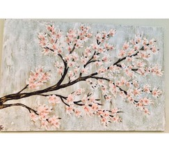 Textured Paint and Glass Cherry Blossoms, Cherry Blossom Tree, Textured ... - $400.00