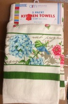 "SET of 5 SAME PRINTED KITCHEN TOWELS, 15"" x 25"", BIRD & FLOWERS by AM - $17.81"
