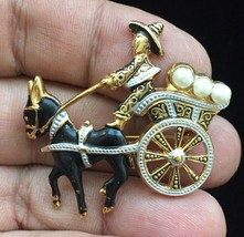 DAMASCENE Man, Donkey and Cart BROOCH in Gold-Tone with Faux Pearls - 1 ... - $20.00