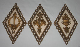 Set of 3 Vintage 1971 Homco Wall Decorations Plaques Diamond Shaped - $7.95