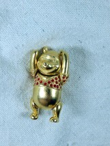 Disney Couture Winnie the Pooh Pin Back Brooch Gold Red Accents Moving Arms Leg - $42.56