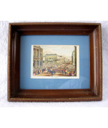 Framed Pall Mall Victorian London Print Framed Matted Glass 1970s Tinted... - $38.00