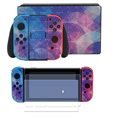 Taifond Full Set Faceplate Skin Decal Stickers for Nintendo Switch with 2Pcs Scr