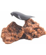Vintage Burl Wood Driftwood Manatee Sculpture Figurine by John Perry 1977 - $26.10