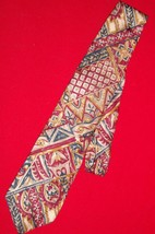 Christian Dior Monsieur Neck Tie Tan Red 100% Silk Italy Classic EUC - $7.69