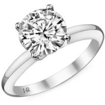 0.50 Carat 14K White Gold Solitaire Engagement Ring G-H SI3-I1 Round Dia... - $434.59