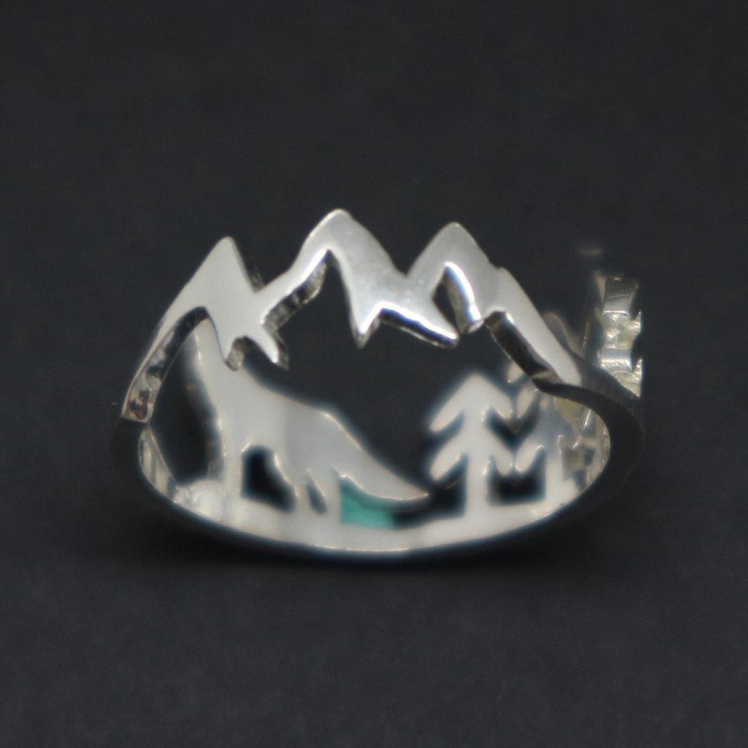 Silver Mountain Pine Tree Wolf Ring image 2