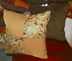 Pair of Tan Brown Flower Print Throw Pillows  18 x 18 - $49.95