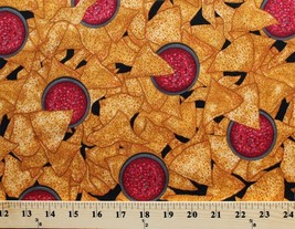 Tortilla Chips and Salsa Snacks Mexican Food Cotton Fabric Print BTY D78... - $11.95