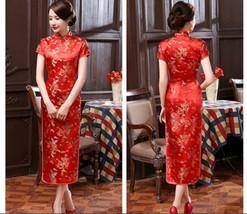 Traditional Chinese Women's Silk Satin Long Dress Cheongsam Qipao SZ S-6... - $19.99