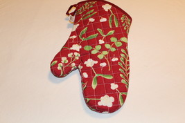 NOW DESIGNS Oven Mitt MISTLETOE Collection NWT 100% Cotton Holiday Red K... - $10.00