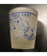 Full Shot Half Shot Shot Glass Blue Print and Illustrations on Frosted G... - $7.99