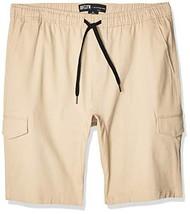 Brooklyn Athletics Men's Cargo Slim Fit Multi Pocket Stretch Twill Short, Khaki,