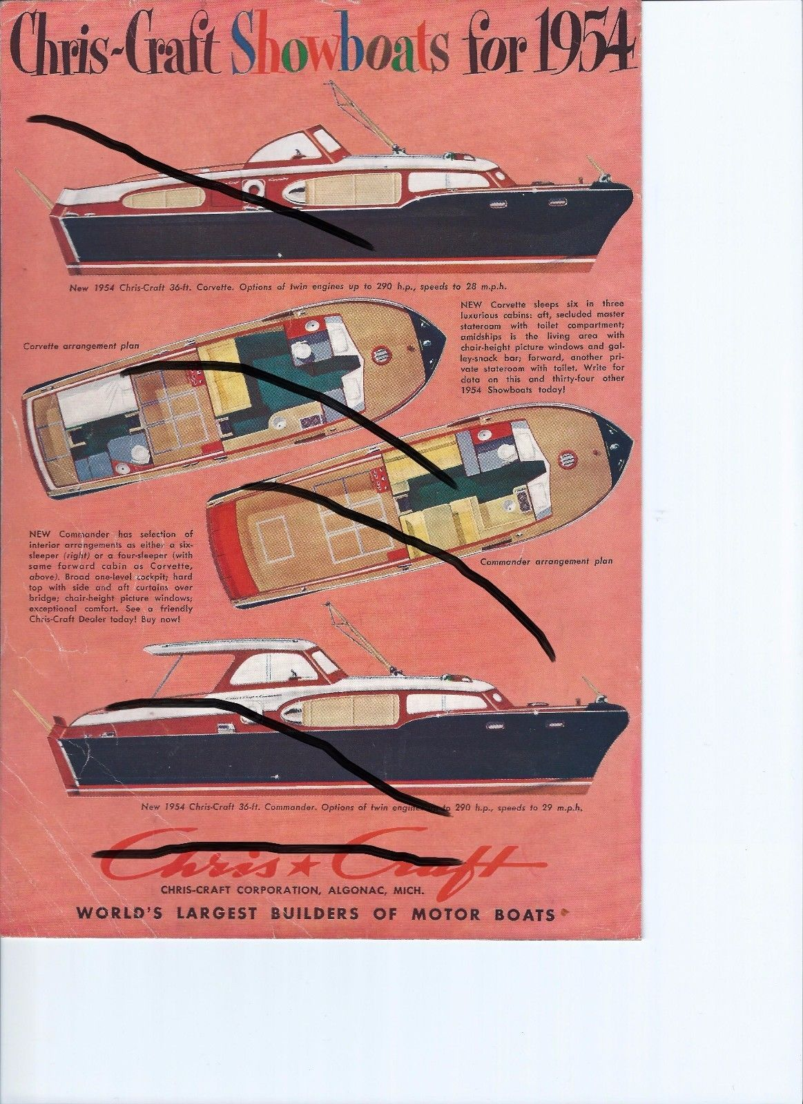 Vintage 1954 Chris Craft Boat Advertisement and 25 similar items