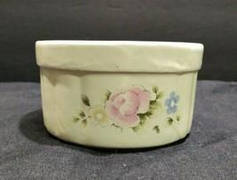 Vintage Pfaltzgraff Tea Rose Pottery Dip Bowl pink floral - $9.47