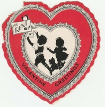 Vintage Valentine Card Children and Terrier Dog Silhouette For Rent 1920... - $7.91