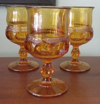 3 Vintage Indiana Glass Kings Crown Thumbprint Amber Wine Water Goblets Glasses - $15.99
