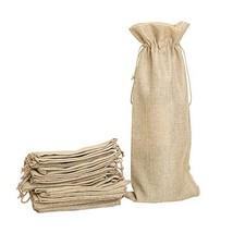 Shintop 10pcs Jute Wine Bags, 14 x 6 1/4 inches Hessian Wine Bottle Gift... - $18.08