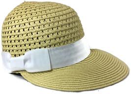 Framer Hat August Accessories White Bow Tie Straw Beach Hat Natural Tan ... - $12.81 CAD