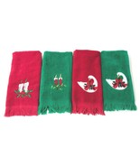 Set of 4 Vtg 1960s Christmas Bathroom Kitchen Hand Towels Terry 100% Cot... - $38.70