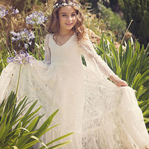 2019 Sexy Ivory Lace A Line Long Flower Girl Dress With Sleeve V-Neck Pa... - $63.77