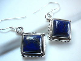 Lapis Earrings 925 Sterling Silver Dangle Rope Style Accented Perimeter New - $23.71