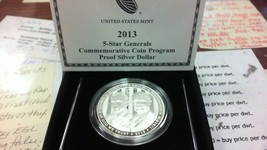 2013 5-Star Generals $1 Silver Proof Commemorative Coin Program - $58.75