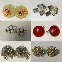 Vintage Lot of 6 Clip On Earrings Parts or repair - $16.45