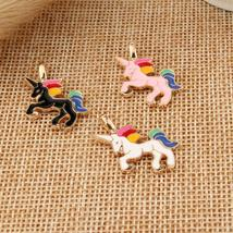 10pcs/pack DIY Chunky Enamel Unicorn Pendant Jewelry Findings Gold Color... - $9.99