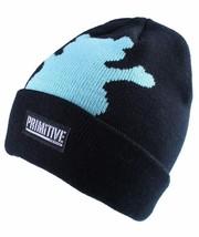 Primitive x Grizzly GripTape Black Teal Bear Fold Cuff Beanie Winter Skate Hat image 2