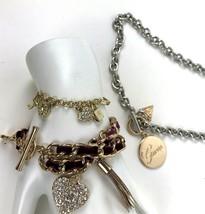 Lot of 2 charm bracelets 1 Necklace Guess Jessica Simpson Rhinestone Heart - $13.85
