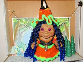 "MONKEY FACE TROLL WITCH 6"" big doll vintage NEW CURLEY Hair Hat Dress Ca... - $31.68"