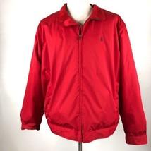 Polo Ralph Lauren Mens Jacket Size XXL Fleece Lined Red Zipper Bomber Coat - $84.10
