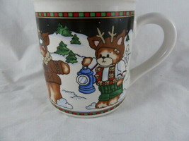 Lucy & Me 1994 Enesco Coffee Mug Christmas Bears Reindeers - $11.87
