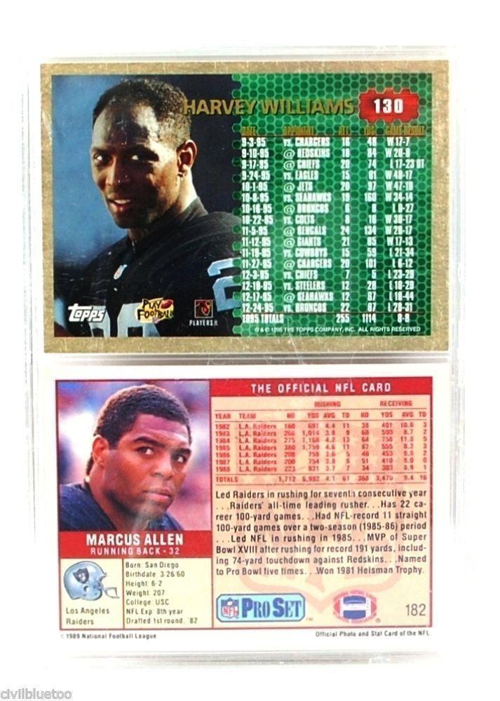 Sports Plaque 2 Cards Williams Allen Raiders 1989 1996 NFL ProSet Topps