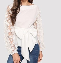 Knot Front Floral Appliques Mesh Sleeve Top Boat Neck Casual Party Blous... - $51.99